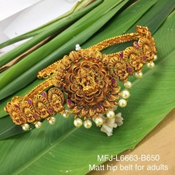 Ruby&Emerald Stones With Pearls Drops Lakshmi With Mango Design Mat Finish Hip Belt Buy Online