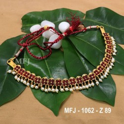 Kempu Blue & Green Colour Stones With Pearl Drops Design Necklace For Bharatanatyam Dance And Temple Buy Online