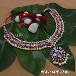 Kempu Ruby&Emerald Colour Stones With Pearls Drops Mango Design Necklace For Bharatanatyam Dance And Temple Buy Online
