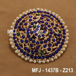 Dark Blue & White Colour Stones Peacock Design Rakodi For Bharatanatyam Dance And Temple Buy Online