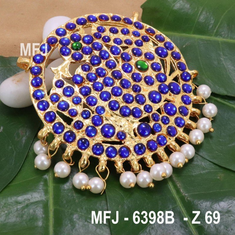 Dark CZ, Blue & Green Colour Stones With Pearl Drops Peacock Design Rakodi For Bharatanatyam Dance And Temple Buy Online