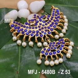 Dark Blue & Green Colour Stones With Pearl Drops Peacock Design Rakodi For Bharatanatyam Dance And Temple Buy Online