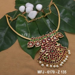 Kempu Ruby,Emerald Stones With Mango Design Necklace For Bharatanatyam Dance And Temple Buy Online