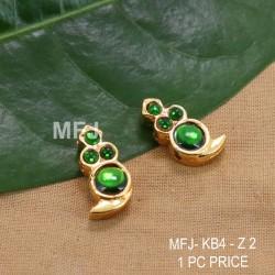 Green  Colour Kempu Stones Mango Designed Golden Colour Polished Jewellery Making Bit(1Pc Price) Online