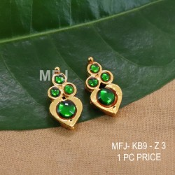 Green Colour Kempu Stones Heart Designed Golden Colour Polished Jewellery Making Bit(1pc Price) Online