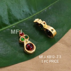 Red & Green Colour Kempu Stones Designed Golden Colour Polished Jewellery Making Bit(1pc Price) Online