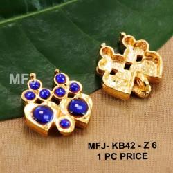 Blue Colour Kempu Connector Stones Double Heart Designed Golden Colour Polished Jewellery Making Bit(1pc Price) Online