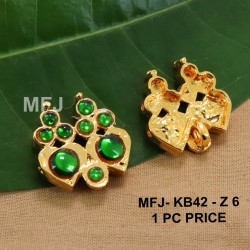 Green Colour Kempu Connector Stones Double Heart Designed Golden Colour Polished Jewellery Making Bit(1pc Price) Online
