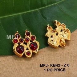 Red Colour Kempu Connector Stones Double Heart Designed Golden Colour Polished Jewellery Making Bit(1pc Price) Online
