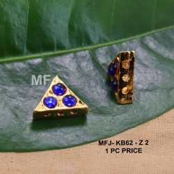 Blue Colour Kempu Connector Three Stones Designed Golden Colour Polished Jewellery Making Bit(1pc Price) Online