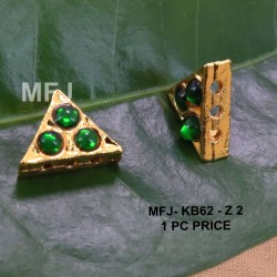 Green Colour Kempu Connector Three Stones Designed Golden Colour Polished Jewellery Making Bit(1pc Price) Online