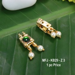 Green Colour Kempu Connector Stone With Pearls Drops Designed Golden Colour Polished Jewellery Making Bit(1pc Price) Online