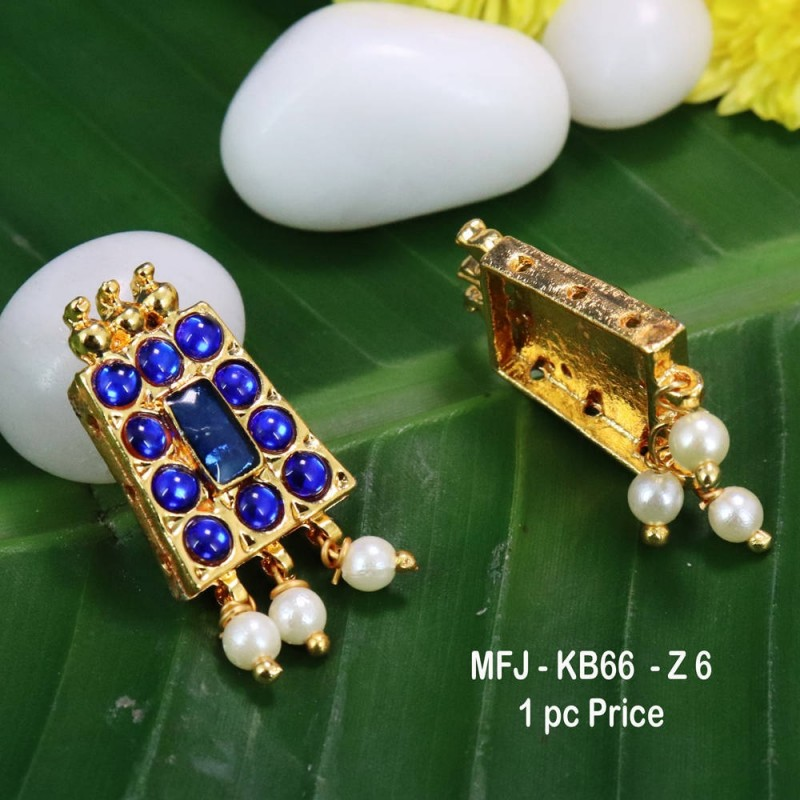 Blue Colour Kempu Connector Stone With Pearls Drops Designed Golden Colour Polished Jewellery Making Bit(1pc Price) Online