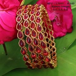 2.8 Size Kempu Stones Thilakam Design Gold Plated Finish Two Pair Bangles Buy Online