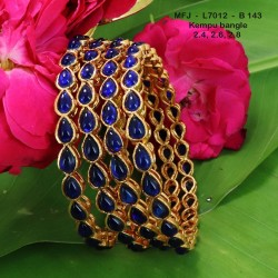 2.8 Size Blue Kempu Stones Thilakam Design Gold Plated Finish Two Pair Bangles Buy Online