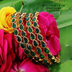 2.4 Size Green Kempu Stones Thilakam Design Gold Plated Finish Two Pair Bangles Buy Online