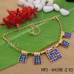 Kempu Green And Blue Stones Design Necklace For Bharatanatyam Dance And Temple Buy Online