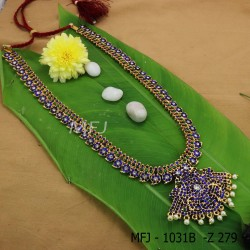 Kempu Wight,Green&Blue Stones With Pearls Drops Mango And Flower Designer Haram For Bharatanatyam Dance And Temple Buy Online