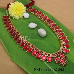 Kempu Red Stones Mango And Flower Designer Haram For Bharatanatyam Dance And Temple Buy Online