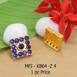 Blue Colour Kempu Connector Stone Designed Golden Colour Polished Jewellery Making Bit(1pc Price) Online