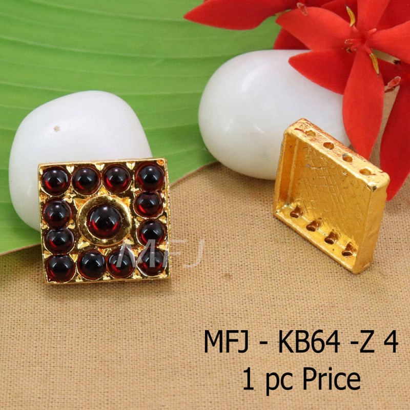 Red Colour Kempu Connector Stone Designed Golden Colour Polished Jewellery Making Bit(1pc Price) Online