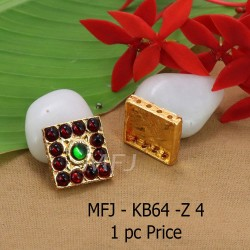 Red And Green  Colour Kempu Connector Stone Designed Golden Colour Polished Jewellery Making Bit(1pc Price) Online
