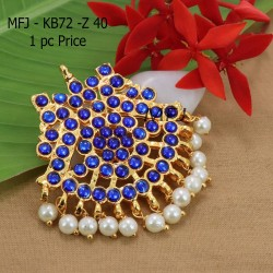 Kempu Conector Blue Colour Stones With pearls Golden Colour Polished Jewellery Making (1pc Price) Online