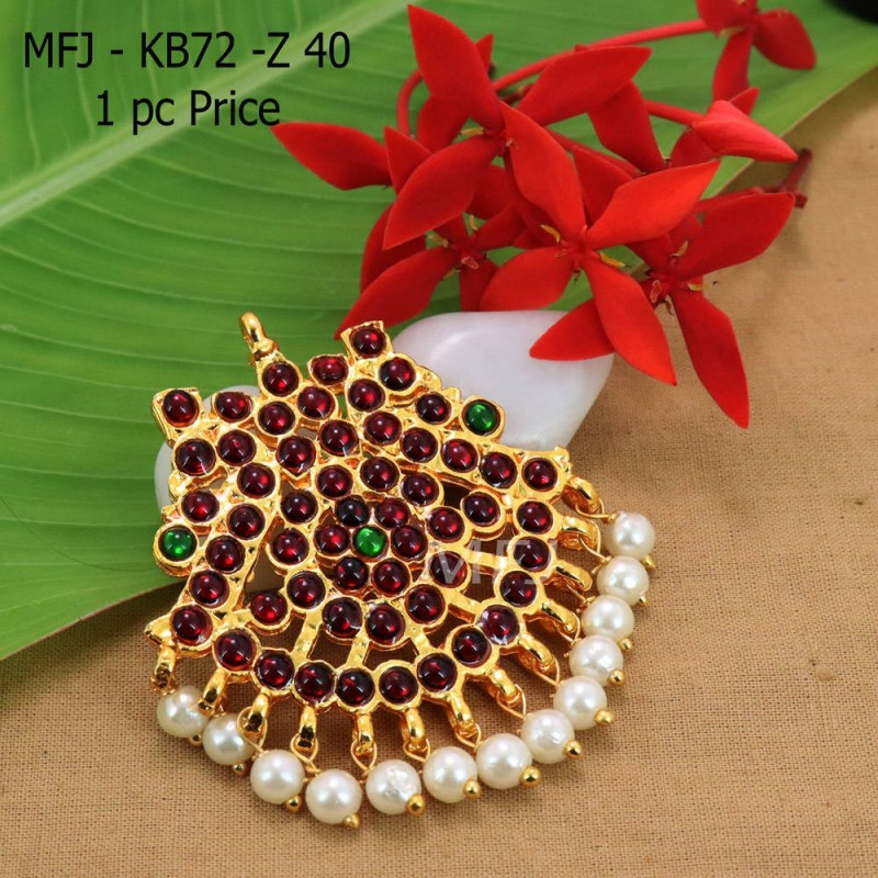Kempu Conector Red And Green Colour Stones With pearls Golden Colour Polished Jewellery Making (1pc Price) Online