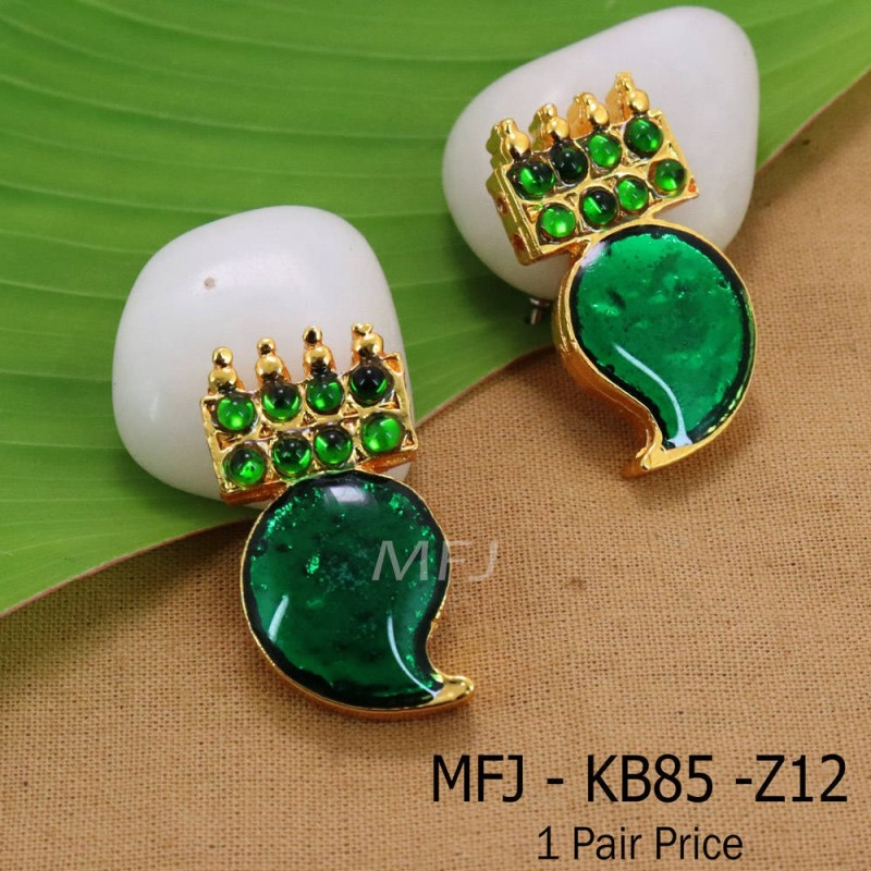 Kempu Connector Green Colour Stones Mango Design Golden Colour Polished Jewellery Making (1pair Price) Online