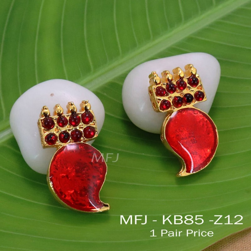 Kempu Connector Red Colour Stones Mango Design Golden Colour Polished Jewellery Making (1pair Price) Online