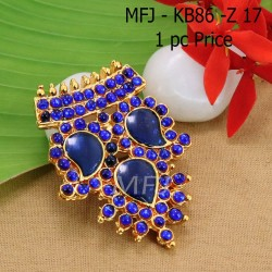 Kempu Connector Blue Colour Stones  Three Mango Design Golden Colour Polished Jewellery Making (1pc Price) Online