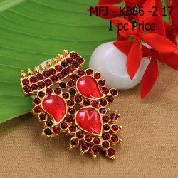 Kempu Connector Red Colour Stones  Three Mango Design Golden Colour Polished Jewellery Making (1pc Price) Online