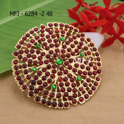 Red And Green Kepu Colour Stones Flower Design Rakodi For Bharatanatyam Dance And Temple Buy Online