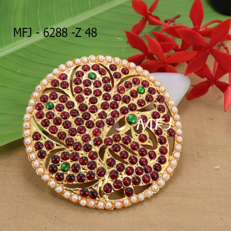 Red And Green Kepu Colour Stones With Pearls Drops Peacock Design Rakodi For Bharatanatyam Dance And Temple Buy Online