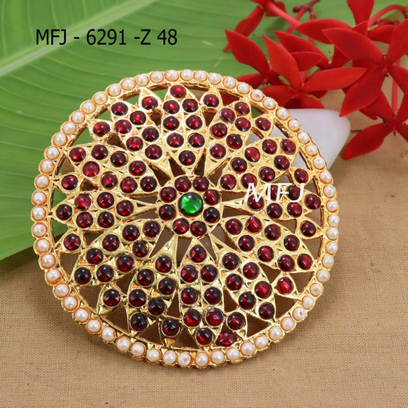 Red And Green Kepu Colour Stones With Pearls Drops Flower Design Rakodi For Bharatanatyam Dance And Temple Buy Online