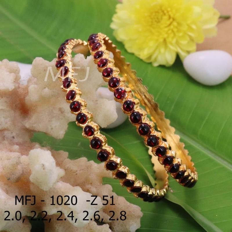 2.0 Size kempu Red Colour Stone Stone Bangle Bharathanatyam Set By  Online