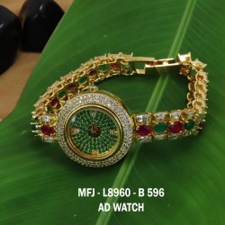 CZ,Ruby&Emerald Stones Design Gold Plated Finish Watch Buy Online
