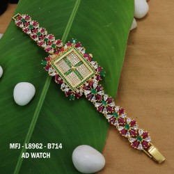 CZ,Ruby&Emerald Stones Leafs Design Gold Plated Finish Watch(2.4,2.6) Can Ware Buy Online