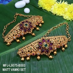 CZ,Ruby & Emeald Stones With Golden Balls Flower Design With Golden Balls Drops Mat Finish Vamki Set Buy Online