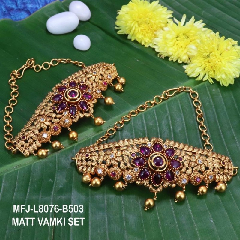 CZ,Ruby Stones With Golden Balls Flower Design With Golden Balls Drops Mat Finish Vamki Set Buy Online
