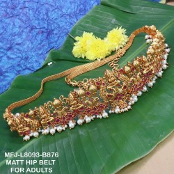 Ruby Stones With Pearls Drops Lakshmi With Peacock Design Mat Finish Hip Belt Buy Online