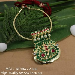 High Quality Ruby&Emerald Stones With Pearls Drops Naga Design Necklace For Bharatanatyam Dance And Temple Buy Online