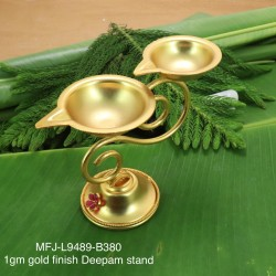 1 GR Gold Plated Ruby Stoned Deepam Stand Buy Online