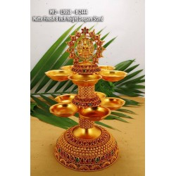 Ruby&Emerald Stoned Lakshmi & Peacock Design 7 inch Hight Mat Finished Deepam Stand Set Online