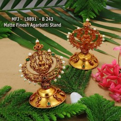Ruby& Emerald Stoned with Pearls Lakshmi Design Matte Finished Agarabatti Stand Set Online