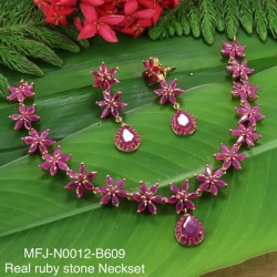 CZ Stones Flower Design Gold Plated Finished Necklace Buy Online