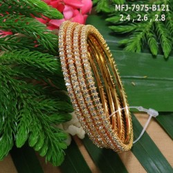2.6 Size Ruby&Emerald Stones Flower Design Gold Plated Finish Two Pair Bangles Buy Online