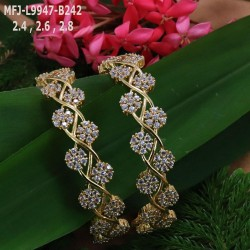 2.4 Size CZ Stones Flower Design Gold Plated Finish Set Bangles Buy Online