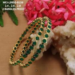 2.8 Size Emerald Stones Design Gold Plated Finish Set Bangles Buy Online