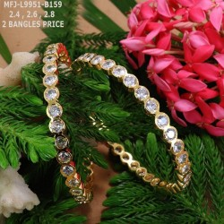 2.4 Size Emerald Stones Design Gold Plated Finish Set Bangles Buy Online